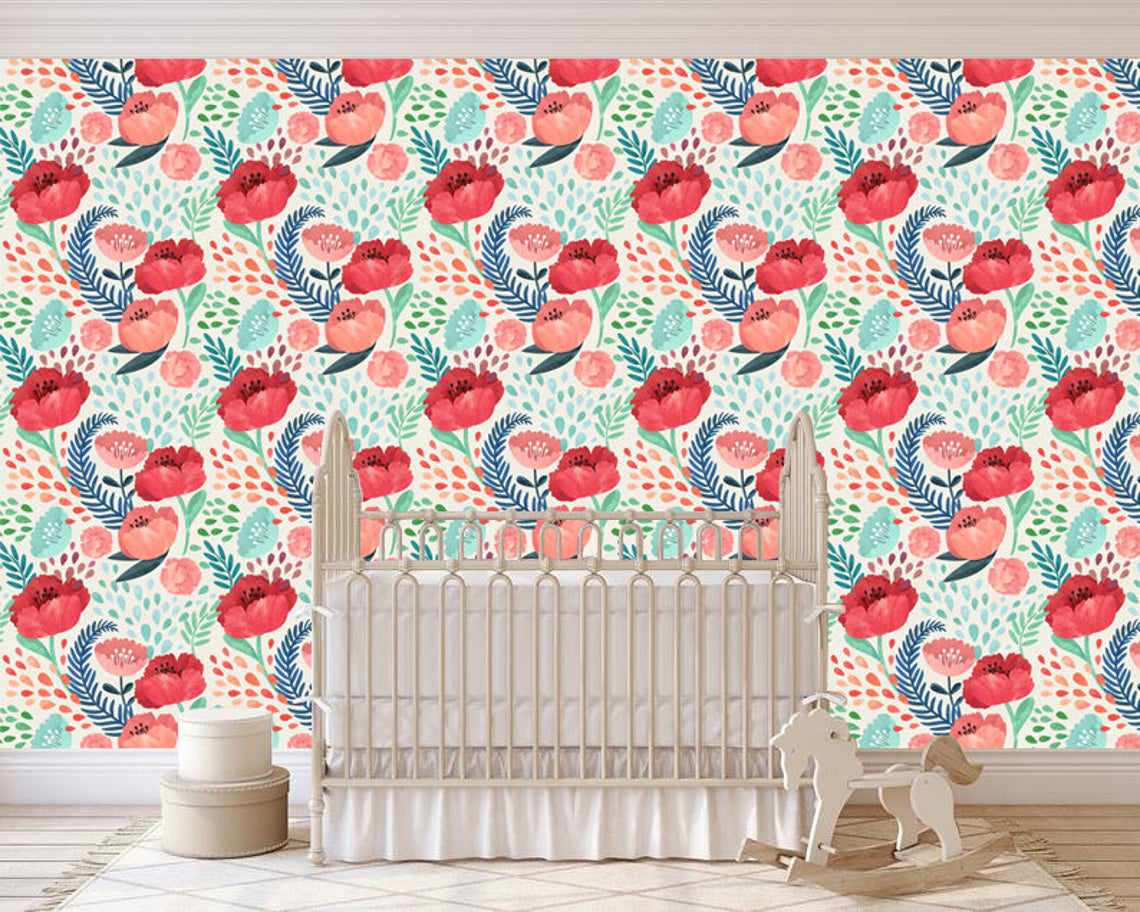 Removable Wallpaper watercolor floral