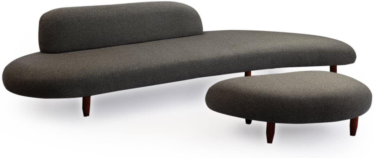 Gray modern sofa.