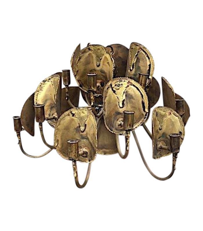 Tom Green for Feldman Brutalist Brass Chandelier