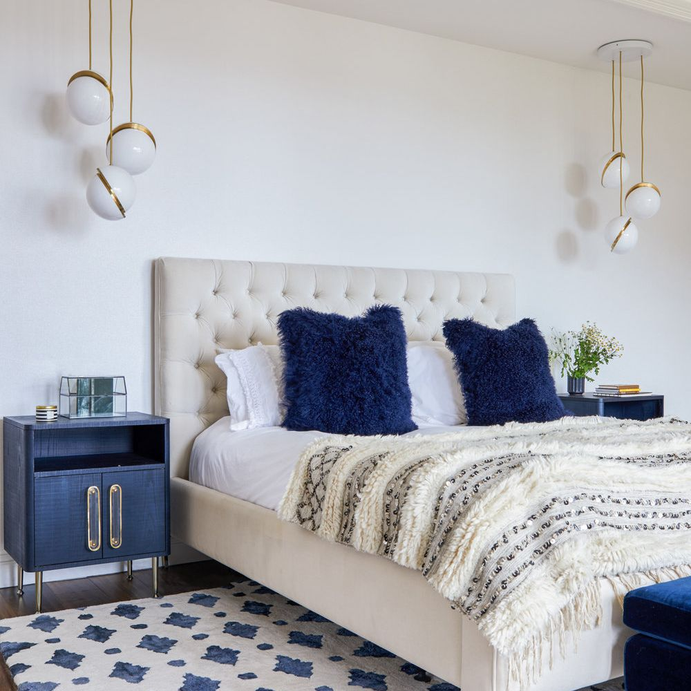 Glam bedroom with navy blue color scheme