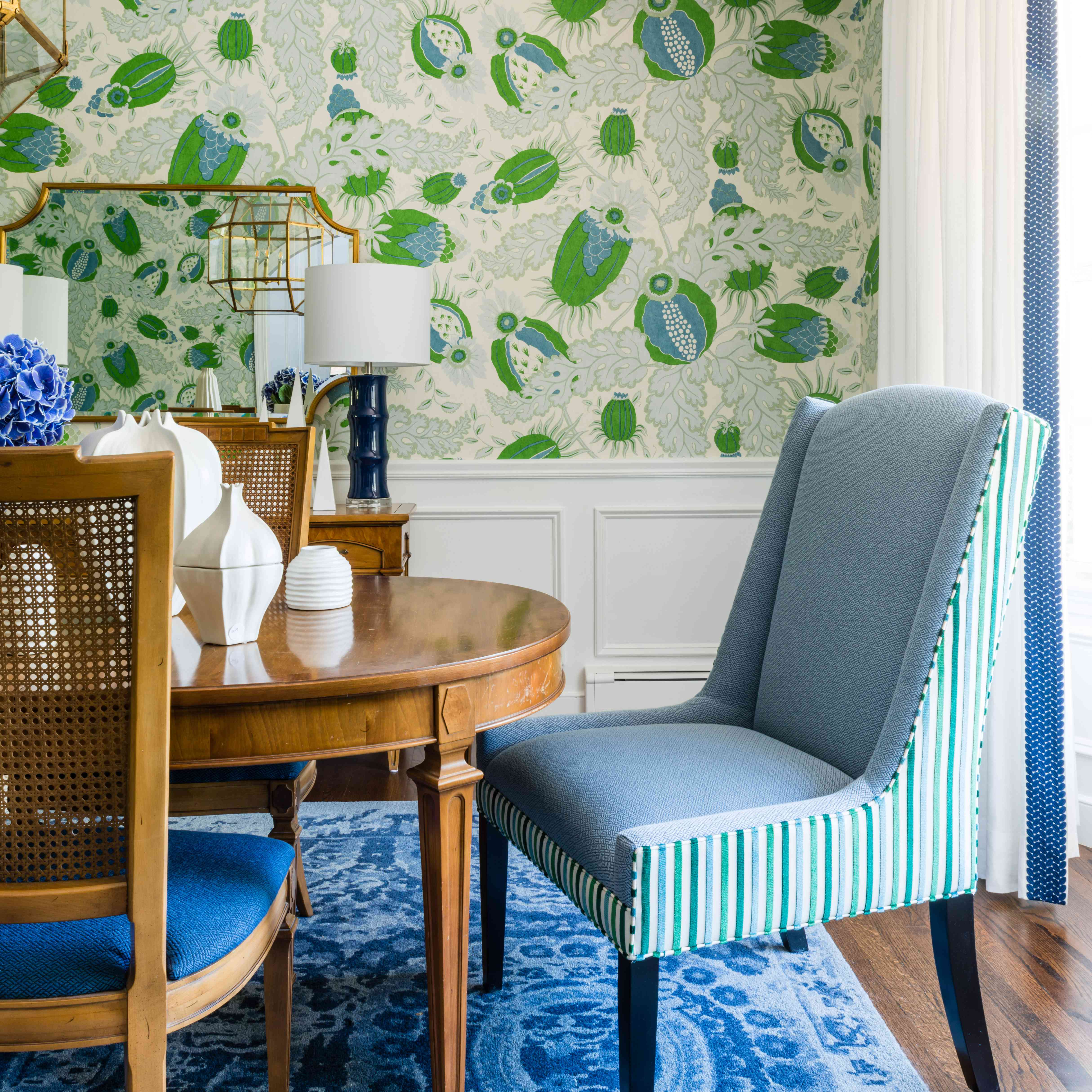 Makeover of the Week - Dina Holland Dining Room Makeover After with Green and Blue Accents