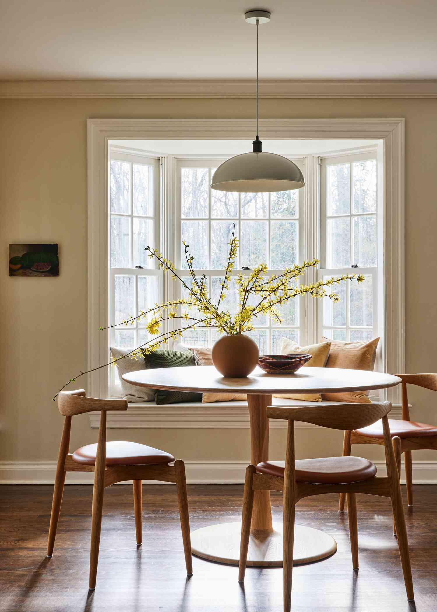 Casual dining nook with bay window