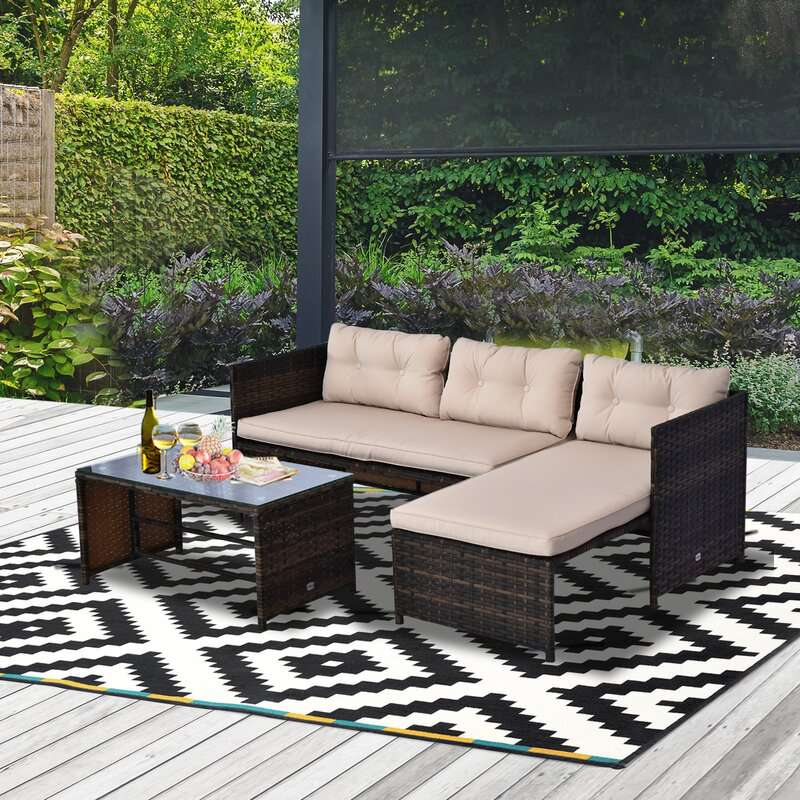 Latitude Run Petekar 3-Person Seating Group With Cushions