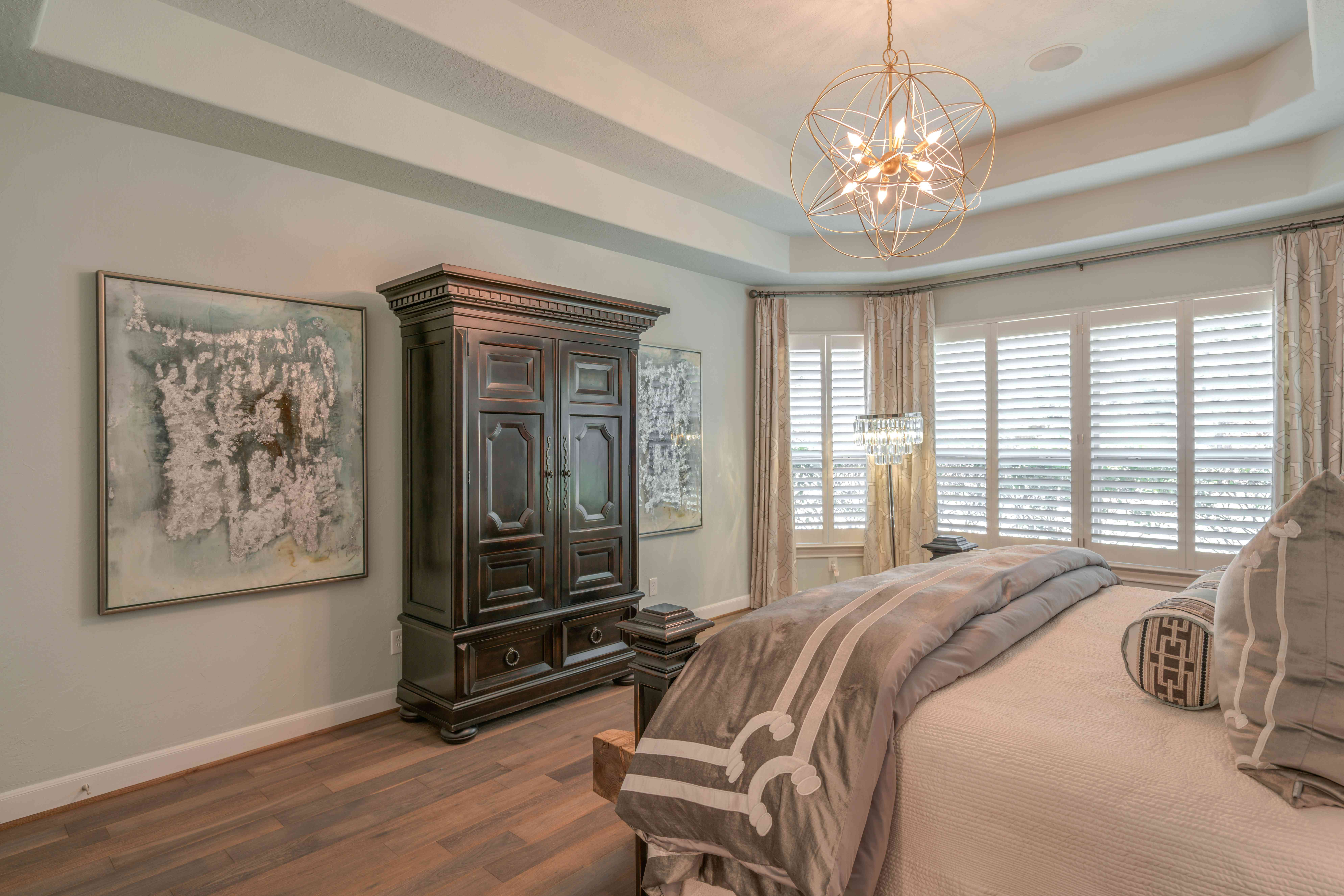 Bedroom with coffered ceiling