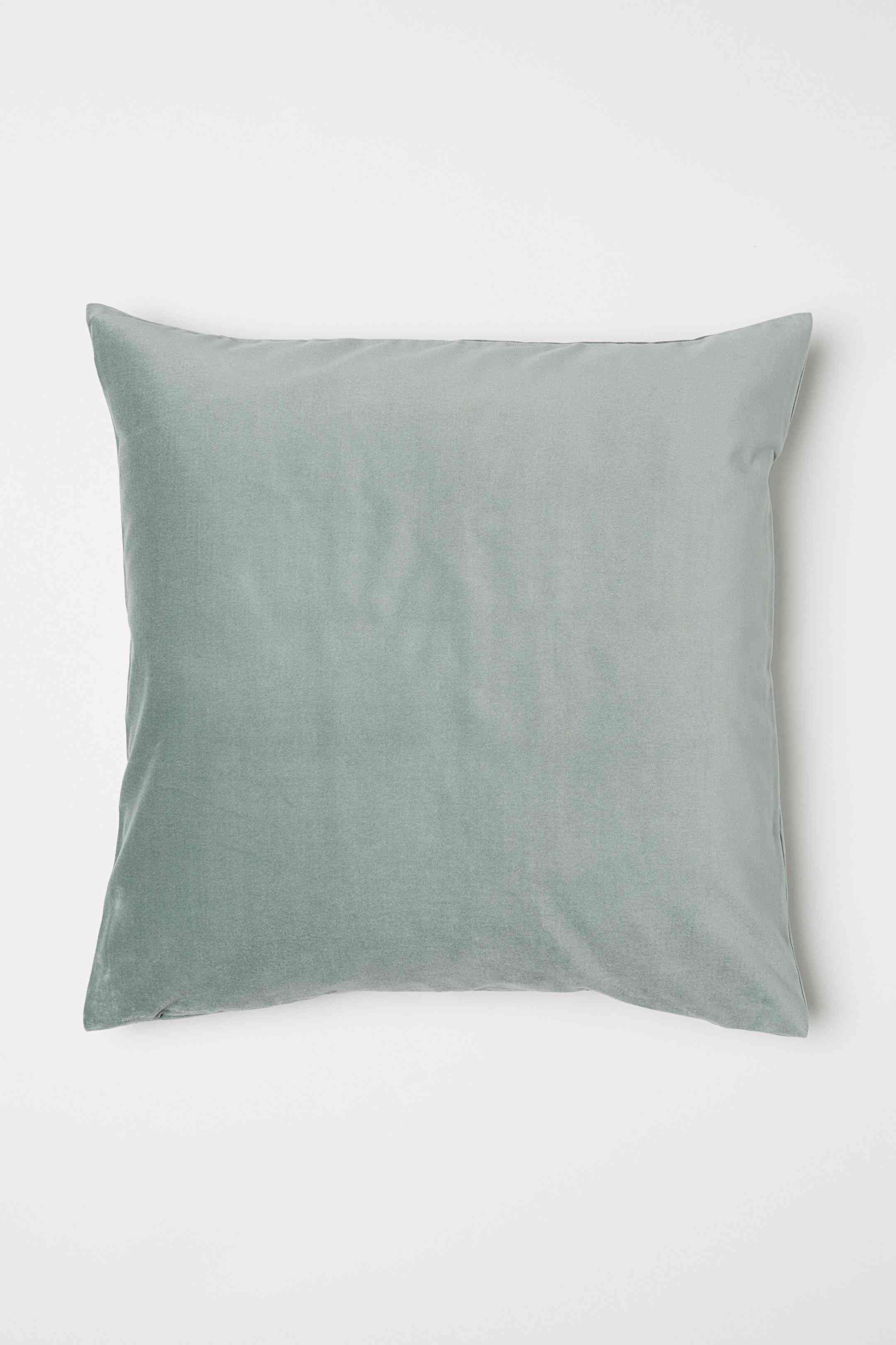 Cotton Velvet Cushion Cover in Dusky Green