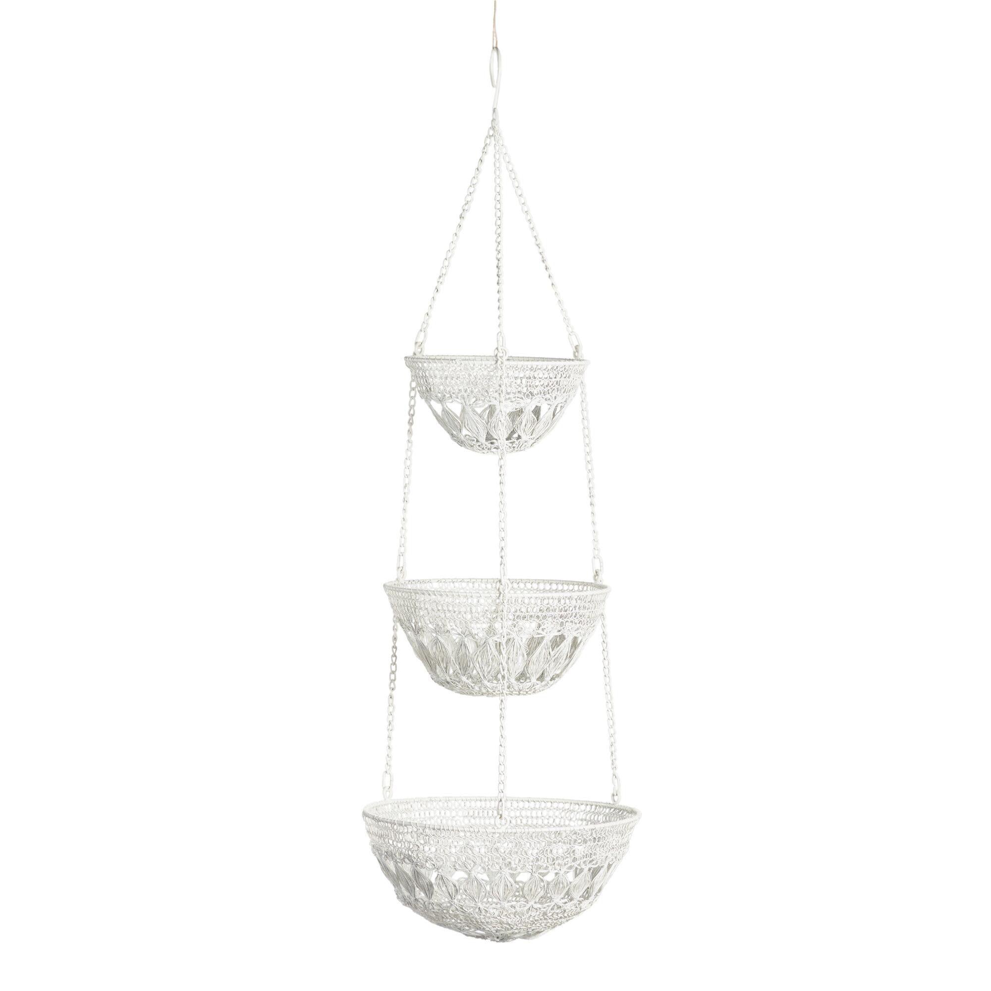 White Wire Macrame 3 Tier Hanging Basket