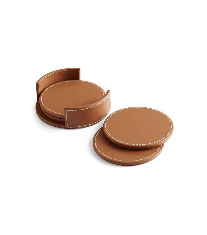 Ralph Lauren Wyatt Set Of 4 Leather Coasters