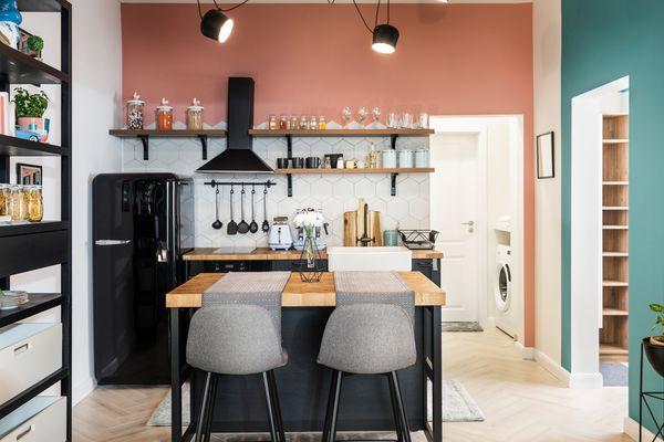 bar stools in kitchen
