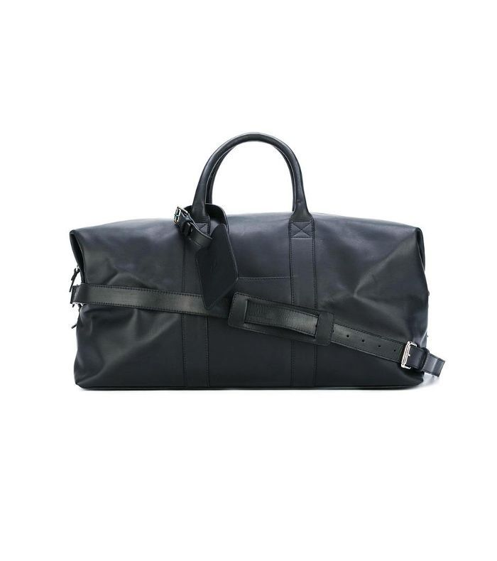 duffle bag, Blue, Leather