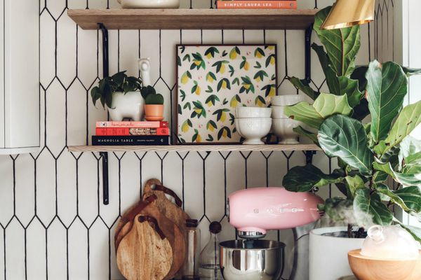 Open shelving next to fiddle leaf fig.