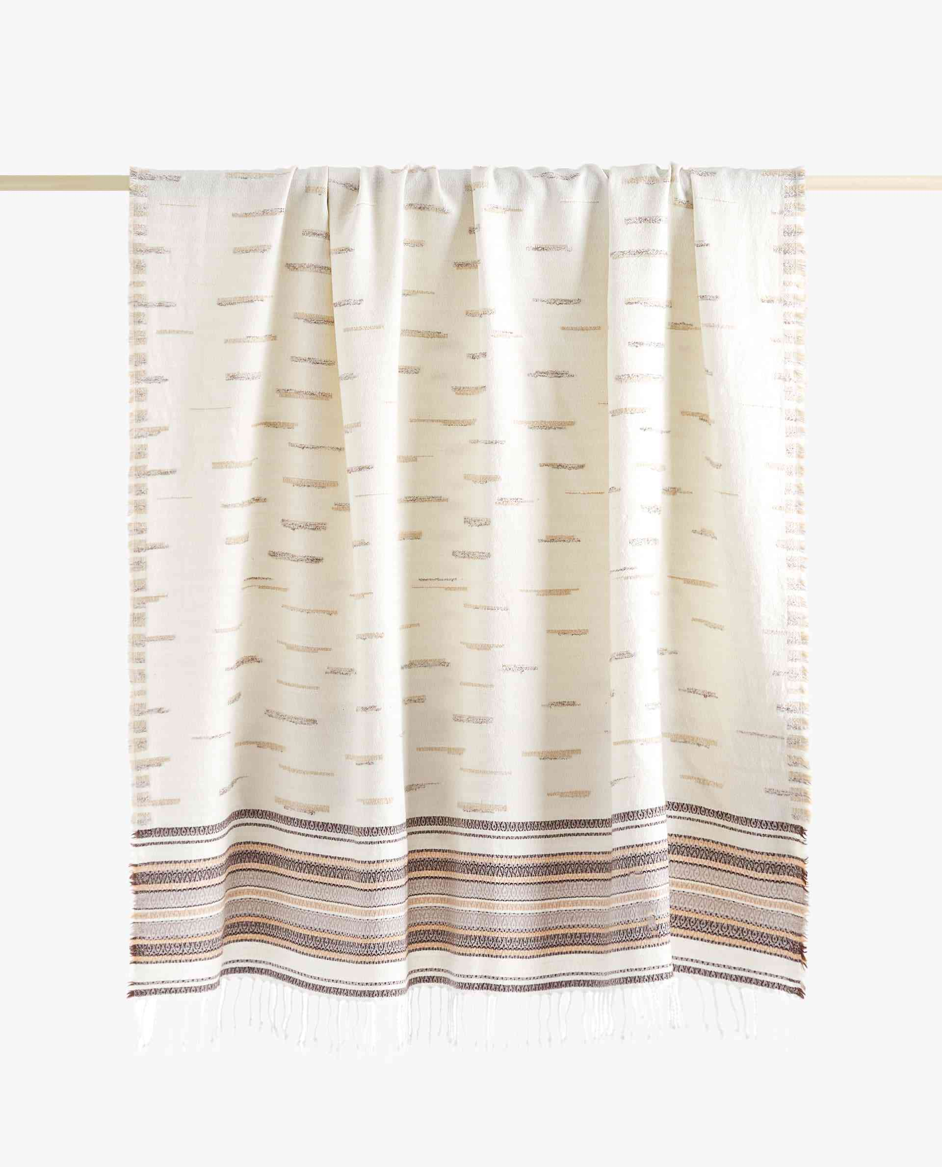 Jacquard Blanket with Embroidered Lines