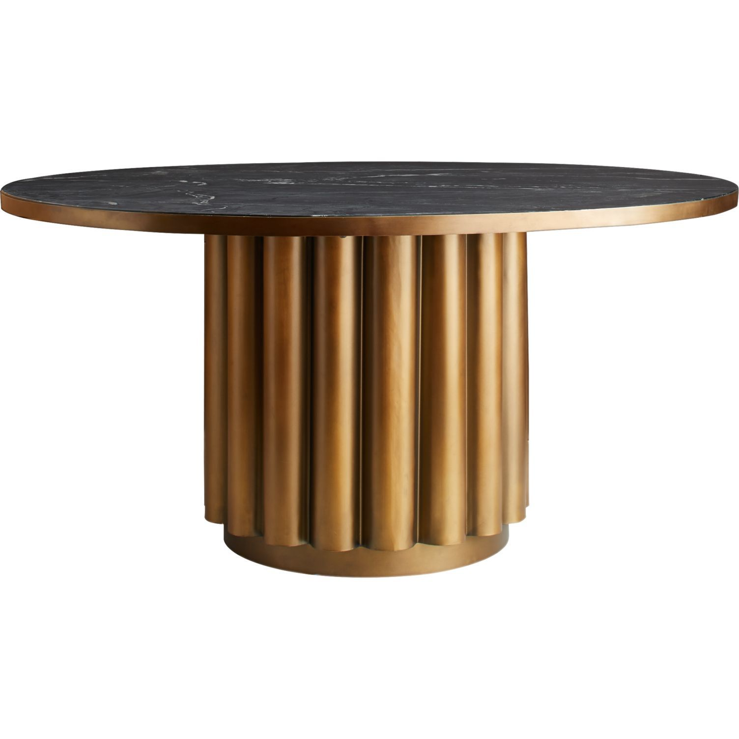 CB2 Cypher Black Marble Dining Table
