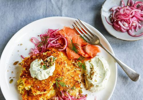 Potato latkes with smoked salmon