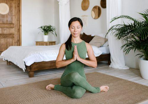 Women in lotus position.