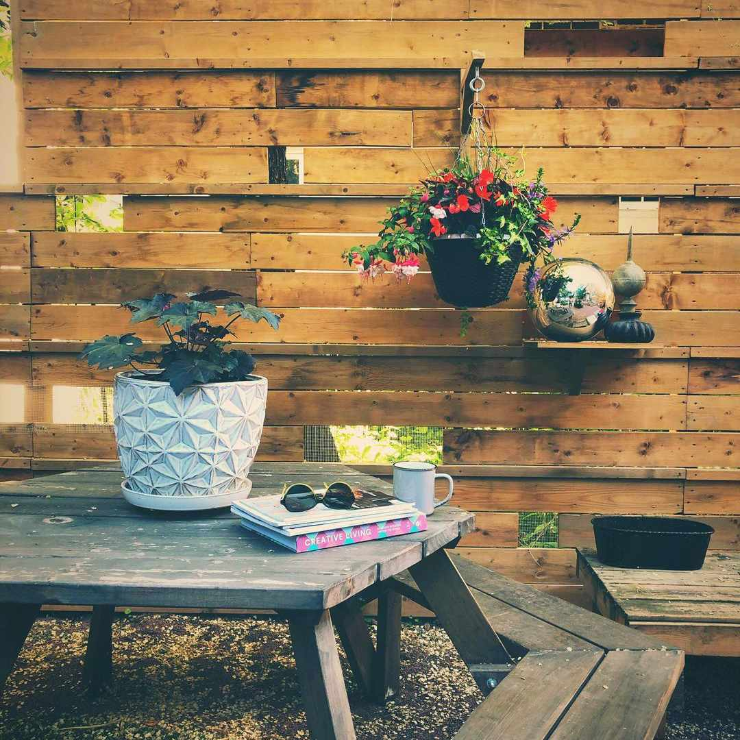 Patio with wood fence