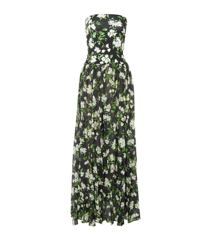 Marianna Strapless Floral-print Stretch-jersey And Voile Maxi Dress