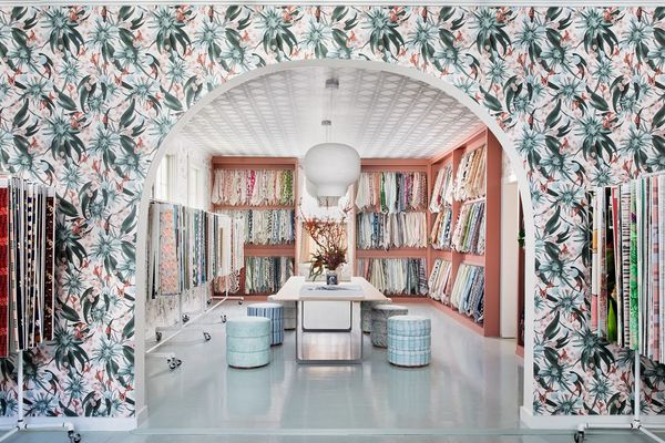 Supply Showroom office with wallpaper.
